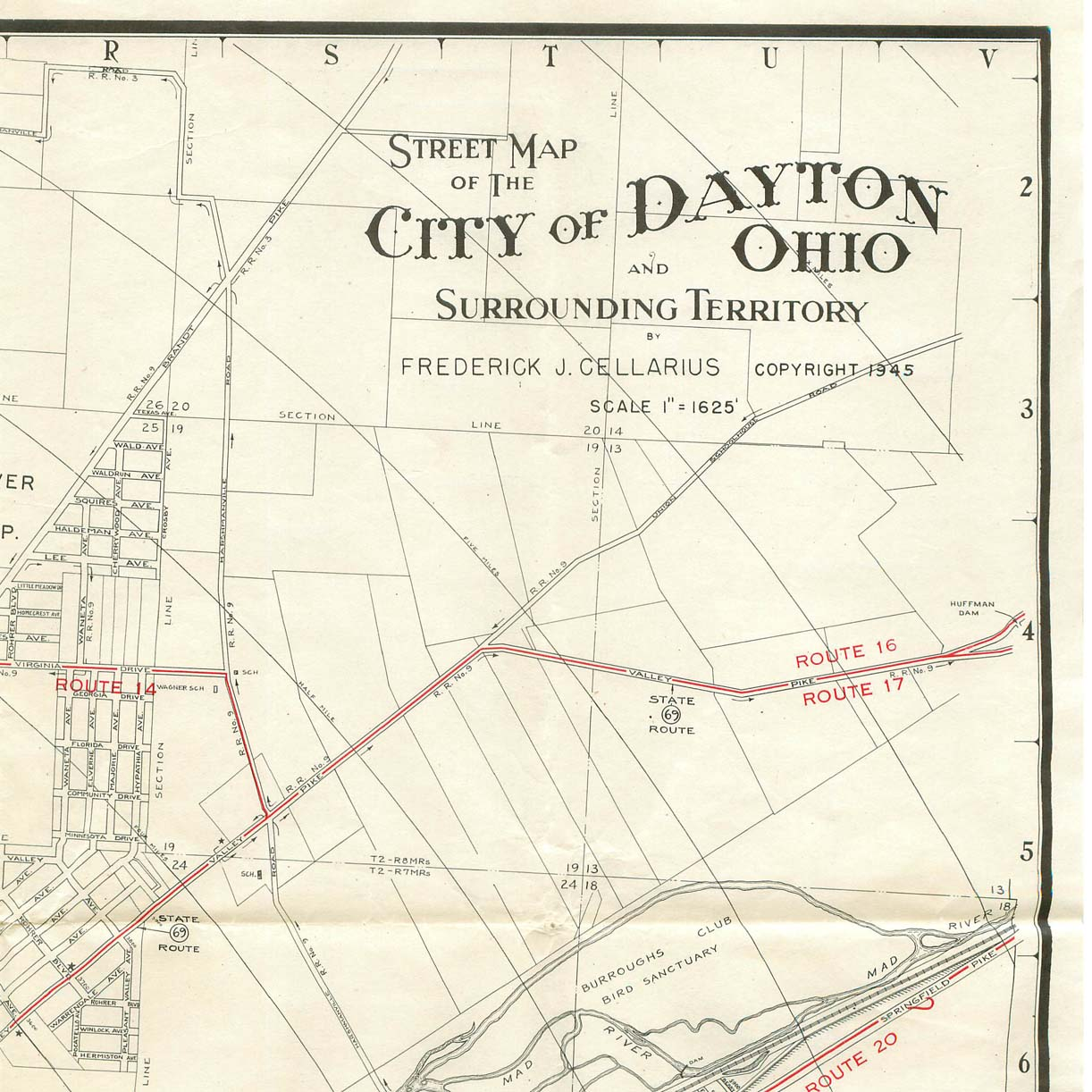 1945 map of Dayton Ohio