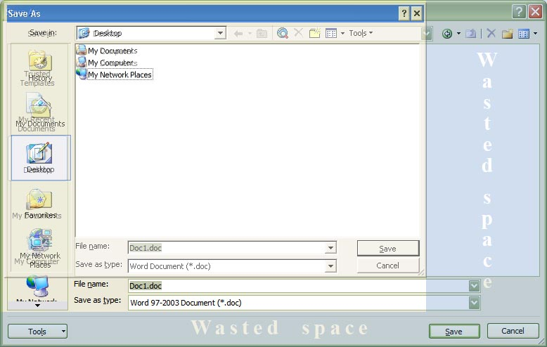 Wasted space in larger Office 2007 File Save dialogue box