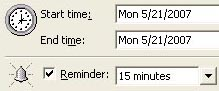 Reminder in Outlook 2003