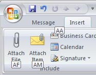 Attach a file with Outlook 2007