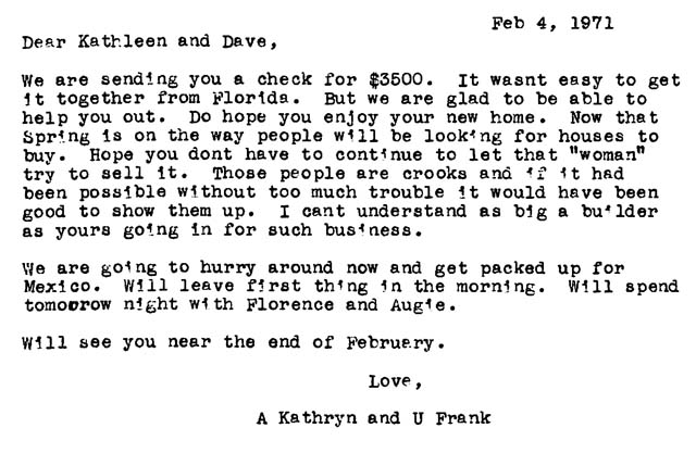 A letter, dated Feb. 4, 1971, from my uncle Frank and aunt Kathryn to my parents