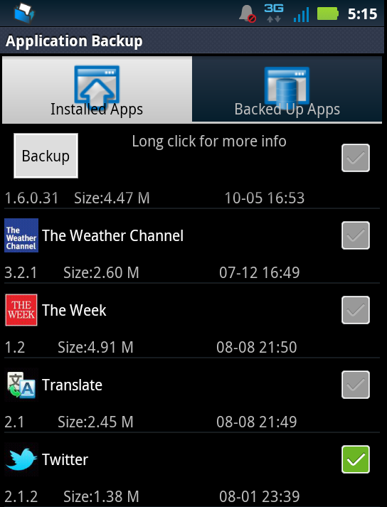 Backing up Twitter app on my Droid 3 using the ASTRO File Manager