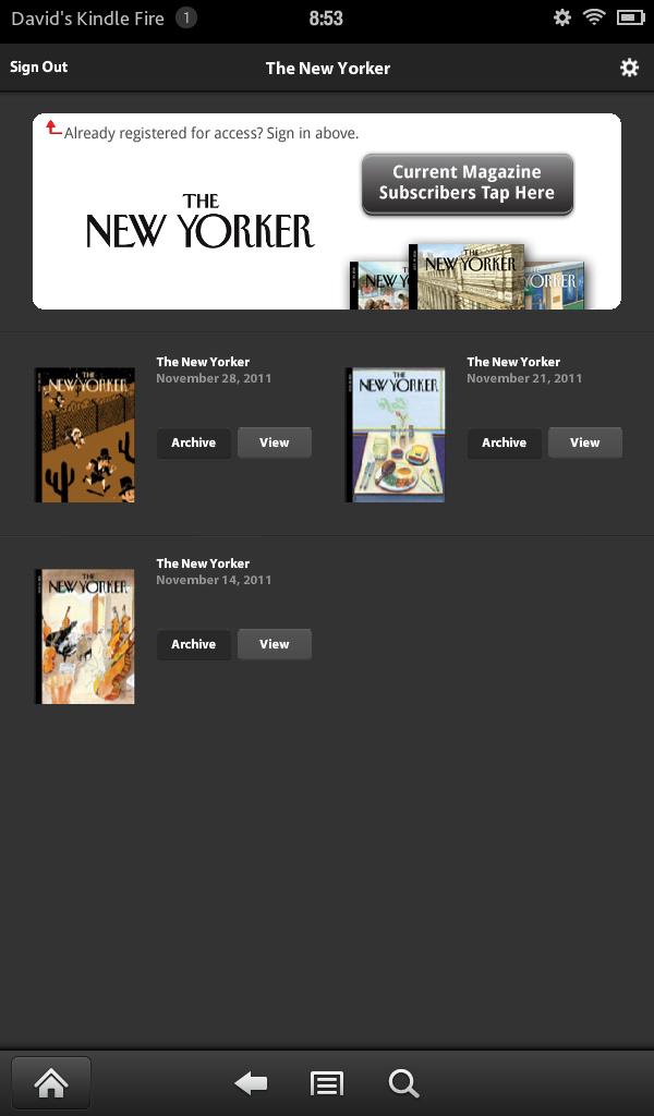 New Yorker app on my Kindle Fire