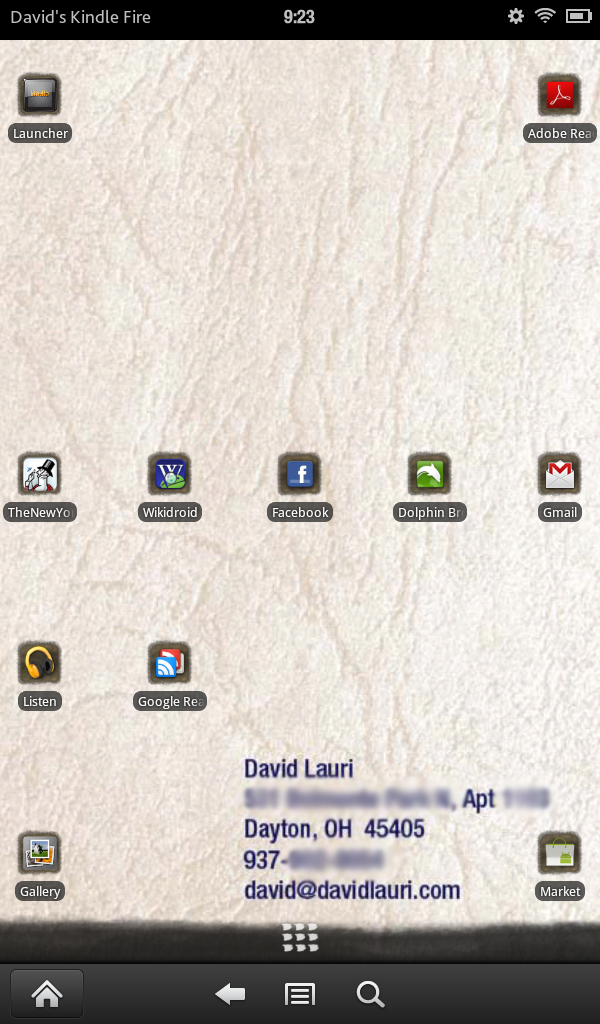 The Go Launcher on my Kindle with my own custom wallpaper and icons where I want them